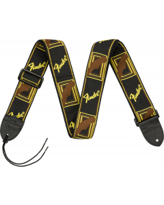"Fender® 2"" Monogrammed Strap, Black/Yellow/Brown"
