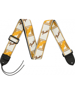 "Fender® 2"" Monogrammed Strap, White/Brown/Yellow"