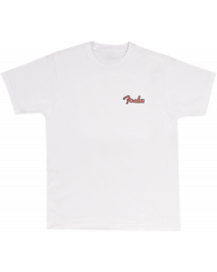 Fender Spaghetti Logo Globe T-Shirt, Wht XL